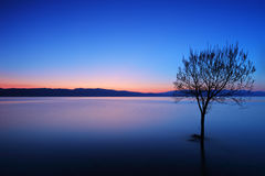 A view of a Ohrid lake at sunset Royalty Free Stock Photos