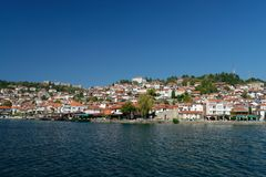 View of Ohrid old town and old fortress from a boat. Stock Images
