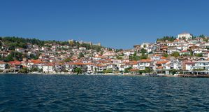 View of Ohrid old town and old fortress from a boat. Royalty Free Stock Images