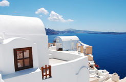 View in Oia. Beautiful architecture of Oia (Santorini island, Greece stock images