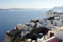 A view of Oia and a few islands in the Santorini archipelago. Greece royalty free stock photography