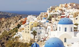 A view of Oia on the Greek Island of Santorini stock photos