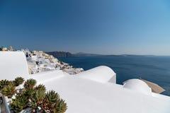 Oia panorama - Santorini Cyclades Island - Aegean sea - Greece. View of Oia panorama - Santorini Cyclades Island - Aegean sea - Greece stock photo