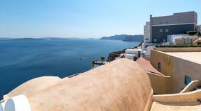Oia panorama - Santorini Cyclades Island - Aegean sea - Greece. View of Oia panorama - Santorini Cyclades Island - Aegean sea - Greece stock photography