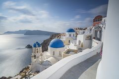 VIEW FROM OIA, SANTORINI. ISLAND, GREECE royalty free stock images