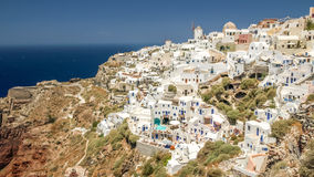 View of oia in santorini and part of caldera Stock Photos