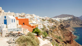 View of oia in santorini and part of caldera Royalty Free Stock Photos