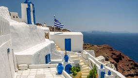 View of oia in santorini and part of caldera Royalty Free Stock Image