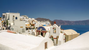 View of oia in santorini and part of caldera Royalty Free Stock Images