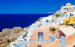 View of Oia, Santorini. Santorini is one of Cyclades islands in the Aegean Sea. It is the most romantic destinations in Royalty Free Stock Photography