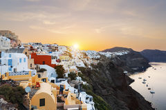View of Oia at sunrise Stock Images