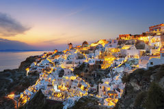 View of Oia at sunset Stock Photography