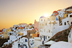 View of Oia at sunset Stock Image