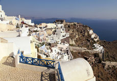 View of Oia town and old castle of Oia, Santorini, Greece. Royalty Free Stock Photography