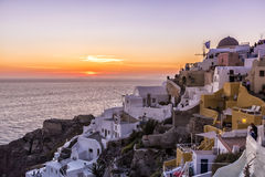 View of Oia traditional white houses of Oia at sunset in Santori Royalty Free Stock Photo