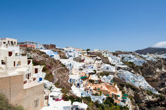 View of Oia with typical houses on the island of Santorini,Greece. Stock Photo