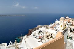 View of the Oia village and the Aegean sea. View of the Oia village and the Aegean sea, Santorini, Greece royalty free stock photo