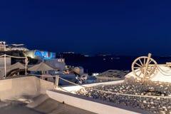 Oia village by night - Aegean sea - Santorini island - Greece. View of Oia village by night - Aegean sea - Santorini island - Greece stock photography