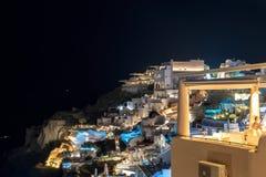 Oia village by night - Aegean sea - Santorini island - Greece. View of Oia village by night - Aegean sea - Santorini island - Greece stock photos