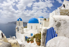 View of Oia village (Santorini,Greece) Royalty Free Stock Photos