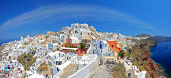View of Oia village on Santorini island. Panoramic view of Oia village on Santorini island, Greece Stock Images