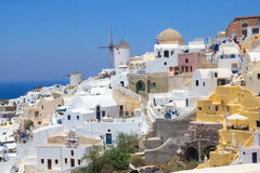 View of Oia village on Santorini island Royalty Free Stock Photography