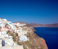 View on Oia village, Santorini Island. Stock Photo