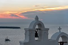 Oia village at the sunset - Aegean sea - Santorini island - Greece. View of Oia village at the sunset - Aegean sea - Santorini island - Greece stock image