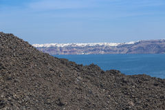 A view of Oia from the volcano. On a day trip to the volcano you can view Oia Stock Photography