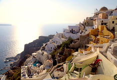 View of Oia and windmills. Santorini, Cyclades, Greece Royalty Free Stock Photos