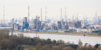 View on an oil refinery in the port of Antwerp, Belgium Stock Photography