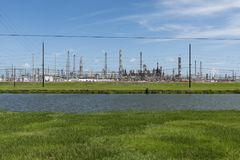 View of an oil refinery in Southern Texas, United States. Concept for industial pollution, fossil fuel and global warming Stock Image