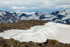 View from Ok Vulcano to the snowfields of Thorisdalur. Iceland. Stock Photos
