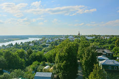 View of Oka river and central part of city from the minaret of Khan's mosque  in Kasimov city, Russia Stock Photography