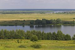 View of the Oka River near the village of Konstantinovo royalty free stock photos