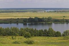 View of the Oka River near the village of Konstantinovo stock photography