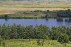View of the Oka River near the village of Konstantinovo stock photos
