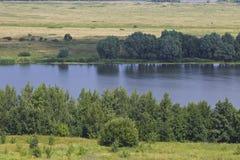 View of the Oka River near the village of Konstantinovo stock image