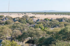 View of Okaukeujo Rest Camp as seen from the watchtower Stock Photos