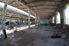 View of an old abandoned industrial interior Royalty Free Stock Photo
