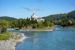 View from old Aisk bridge. Over Katun river, Altai Krai royalty free stock photo