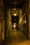 View of an old alley in Venice at night Royalty Free Stock Image