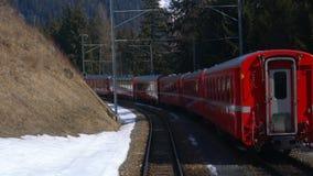 View of the old alpine mountain railway Bernina train. Running on the mountain stock video