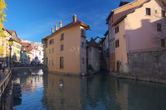 View on old Annecy canals Royalty Free Stock Photo