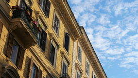 View of old apartments, rome, italy, timelapse, 4k stock video footage