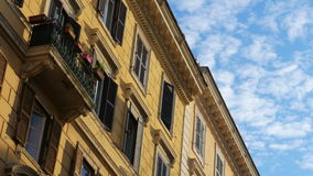 View of old apartments, rome, italy, timelapse, zoom in, 4k stock video footage