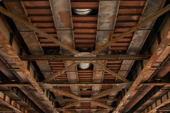View of the old automobile bridge from below Stock Image