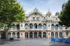 View of Old Barcelona Port Authority building Port de Barcelona at the base of Rambla del Mar. Stock Images