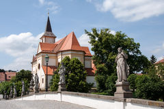 View of the old Baroque bridge and St. John the Baptist church in Namest nad Oslavou Royalty Free Stock Photos