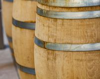Barrels in the wine cellar Royalty Free Stock Images